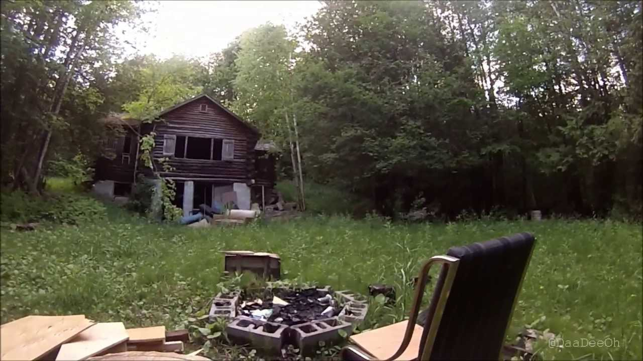 Exploring An Abandoned Log Cabin In The Woods