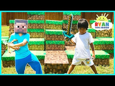 MINECRAFT In Real Life Steve vs Ryan ToysReview Minecraft Surprise Toys Hunt