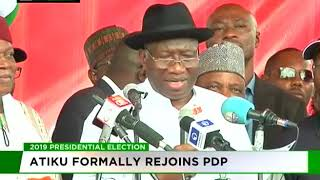 Atiku formally rejoins PDP