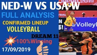 NED-W VS USA-W DREAM 11||VOLLEYBALL ||FULL ANALYSIS ||SL+GL TIPS