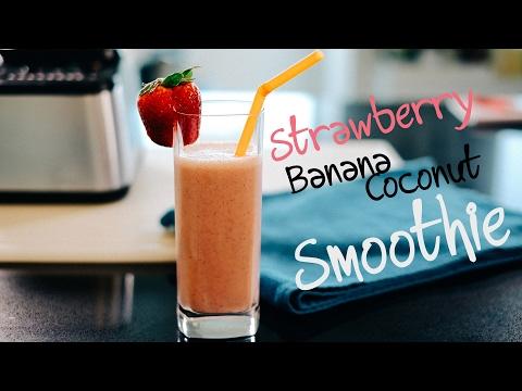 Strawberry, Banana, Coconut, Almond Smoothie