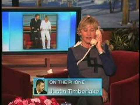 Justin Timberlake calls Ellen Degeneres....