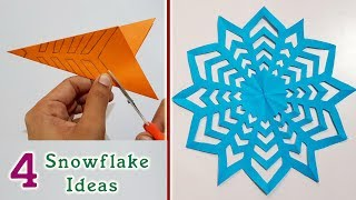 4 Snowflake Ideas for Christmas || Paper craft & Decoration ideas