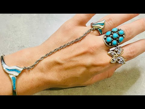 Diamonds, angel skin coral and turquoise! Goodwill Bluebox mystery jewelry unboxing!