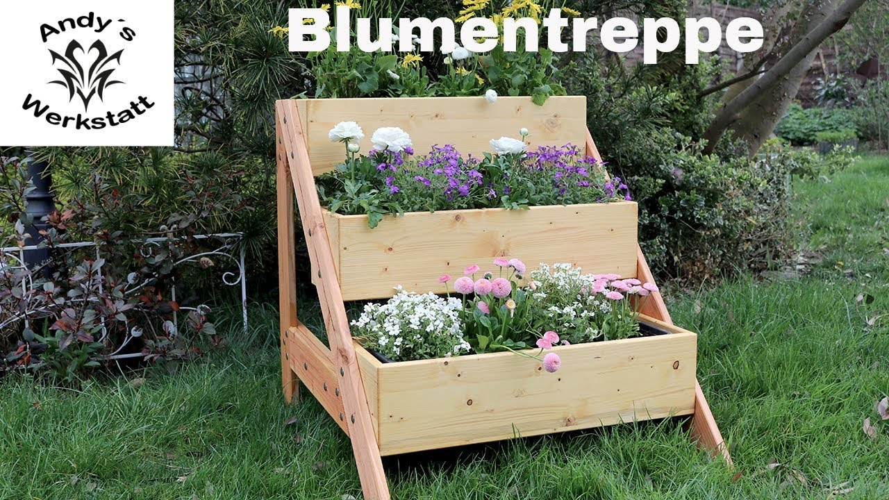 blumentreppe pflanzentreppe selber bauen unter 20 euro material youtube. Black Bedroom Furniture Sets. Home Design Ideas