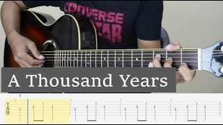 A THOUSAND YEARS - Christina Perri - Fingerstyle Guitar Tutorial TAB