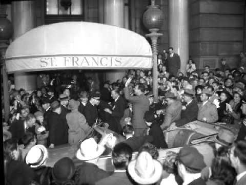 New York Governor Thomas E Dewey campaigning in San Francisco