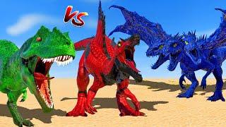 Skeleton Tyrannosaurus vs Red Spinosaurus vs I-Rex vs Giganatosaurus 🌍 Jurassic World Evolution