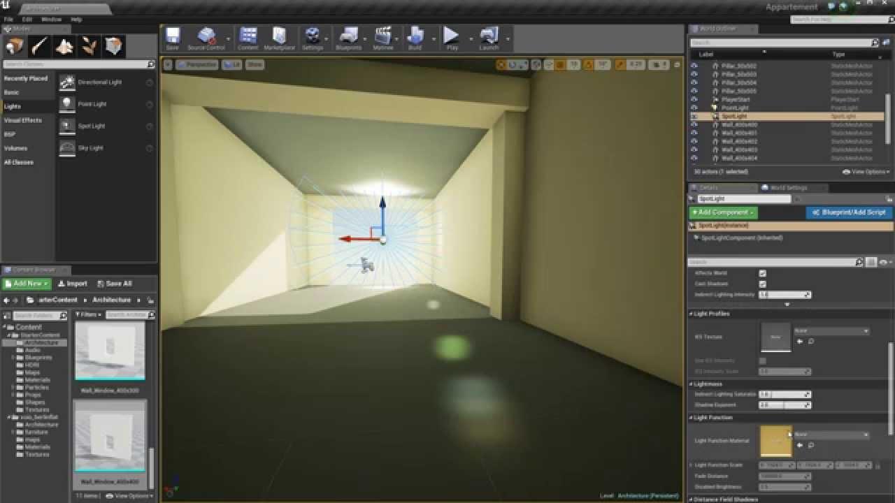 Unreal engine 4 eclairage pour architecture part1 youtube for Unreal engine 4 architecture