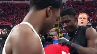 Alabama Crimson Tide WR Calvin Ridley exchanges jersey with brother Riley