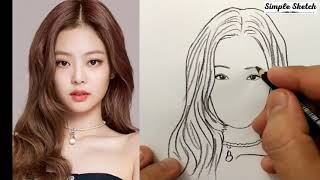 VERY EASY, how to draw jennie blackpink / quick sketch