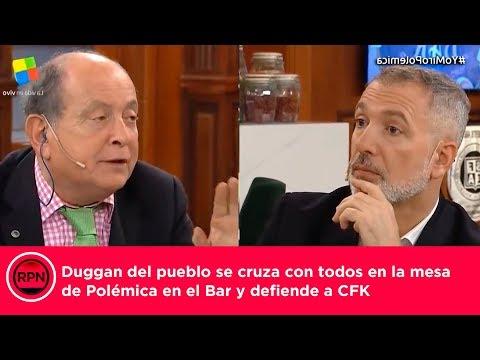Duggan del pueblo se cruza con todos en la mesa de Polémica en el Bar y defiende a CFK