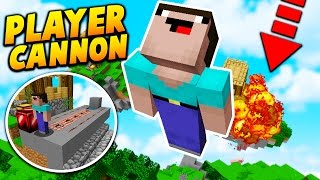 PLAYER TNT CANNON TROLL! - Minecraft SKYWARS TROLLING! (HOW TO FLY!)