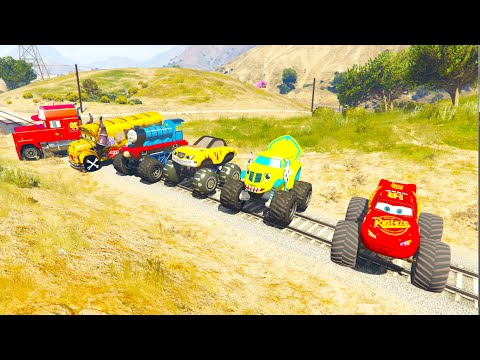 Who Can Stop The Train? Spiderman vs Train With Monster Truck McQueen GTA 5  