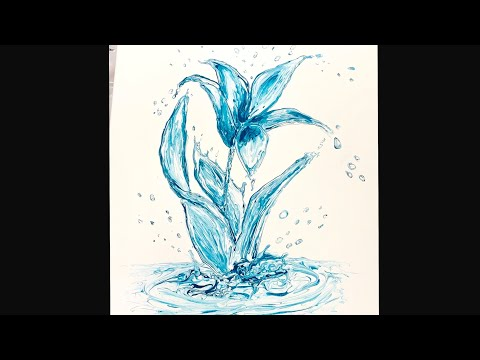 (246) YOU CAN DO THIS! Water Lily - Fluid Acrylics Painting - Impressionism - Flow Art
