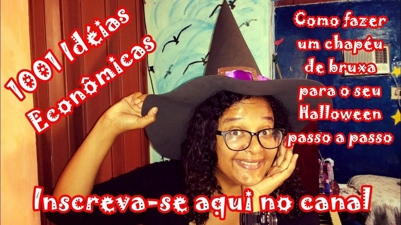 c21a1291d1f6b DIY - Como fazer um chapéu de bruxa de EVA para o seu Halloween passo a  passo