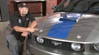 2005-2009 Ford Mustang Install: Drake Muscle Cars Billet Aluminum and Stainless Steel Hood Pin Kit