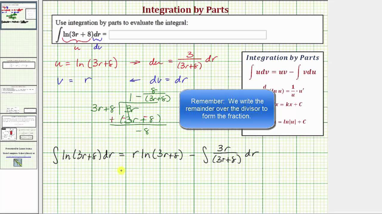 how to go about integration by parts