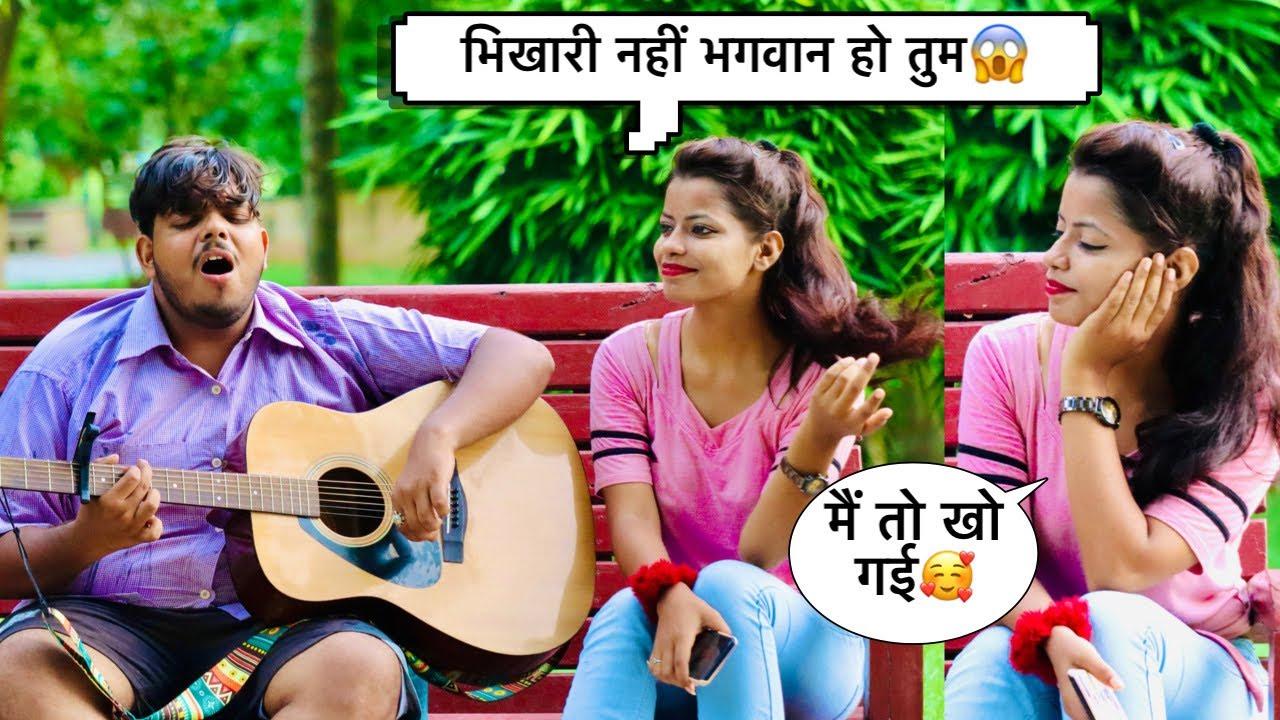 Begger ( भिखारी ) Singing Prank with twist   Socking girl Reactions   Prank in India  Ashish Mani
