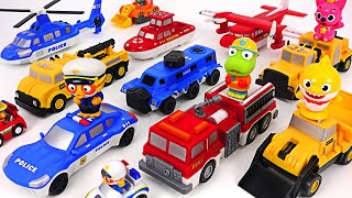Mix & match police car, ambulance, fire truck~ Save the baby shark! #PinkyPopTOY