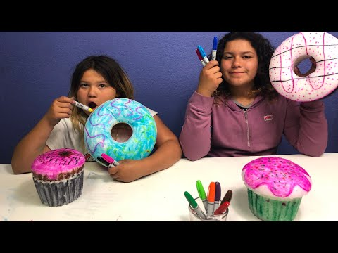 GIANT 3 MARKER SQUISHY CHALLENGE!!! 3 MARKER CHALLENGE WITH GIANT SQUISHIES