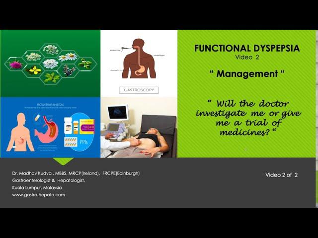 FUNCTIONAL DYSPEPSIA - Management