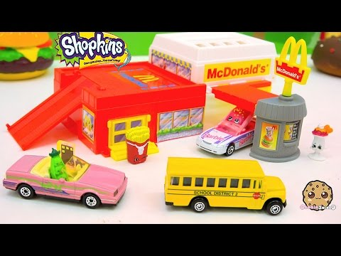 Shopkins Go To Mcdonalds In Hot Wheels Cars Drive Thru Fast Food Playset Video - Cookieswirlc Review