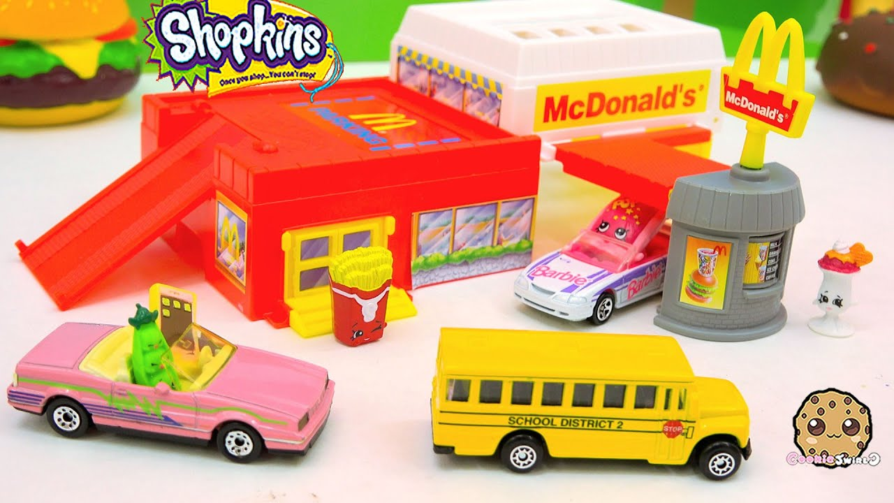 Shopkins Go To Mcdonalds in Hot Wheels Cars Drive Thru Fast Food ...