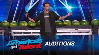 Trizzie D: Man Breaks World Record by Smashing 45 Watermelons With His Head - America's Got Talent