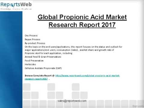 2022 Global Propionic Acid Market Future Trend Study
