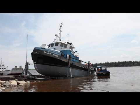 Tug Nelson River goes into the water at Moosonee 2010 June 22nd