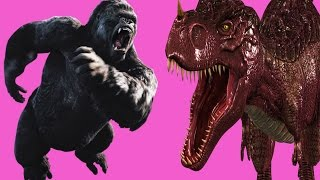 vuclip Finger Family Rhyme - KING KONG V/S DINOSAUR Version | Funny  Children Poems In 3D