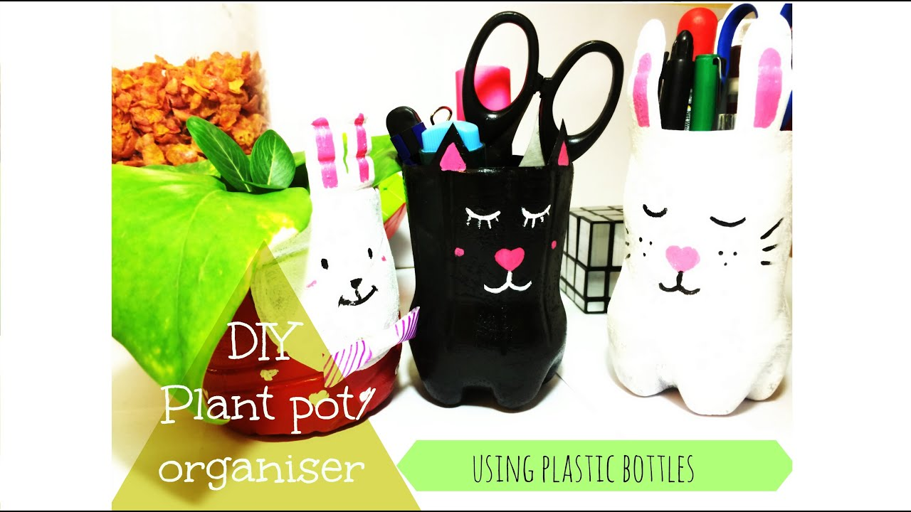 Cute DIY using Plastic Bottle / Pen holder / Plant pot ...
