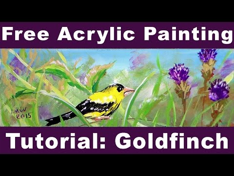 How to Paint a Goldfinch in Acrylic Beginner REAL TIME Tutorial