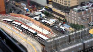 Tilt-shift time-lapse - buses entering and exiting the Port Authority bus terminal NYC