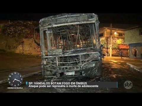 Ônibus é incendiado em SP durante protesto contra morte de jovem | Primeiro Impacto (11/10/17)