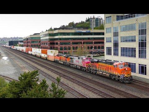 Trains Along the Seattle Waterfront April 29, 2017 4K