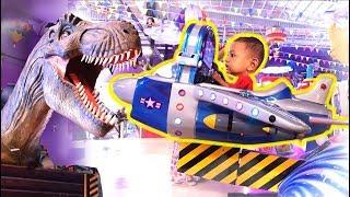 Naik Mainan Anak Pesawat Odong Odong dan Ada Dinosaurusnya