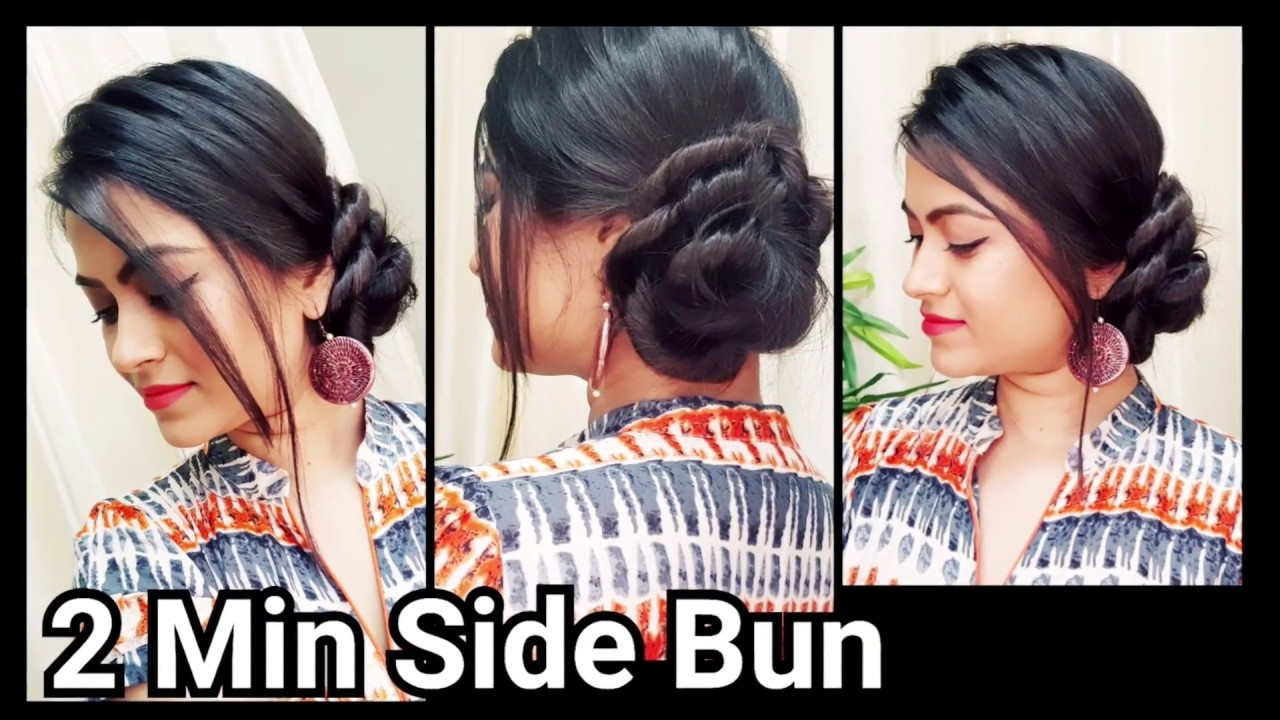 bun hairstyle for saree or ethnic dresses// indian hairstyles for medium to long hair