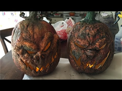 Halloween Corpse Creepy Craft Foam Pumpkin - Using Gorilla Glue and Latex