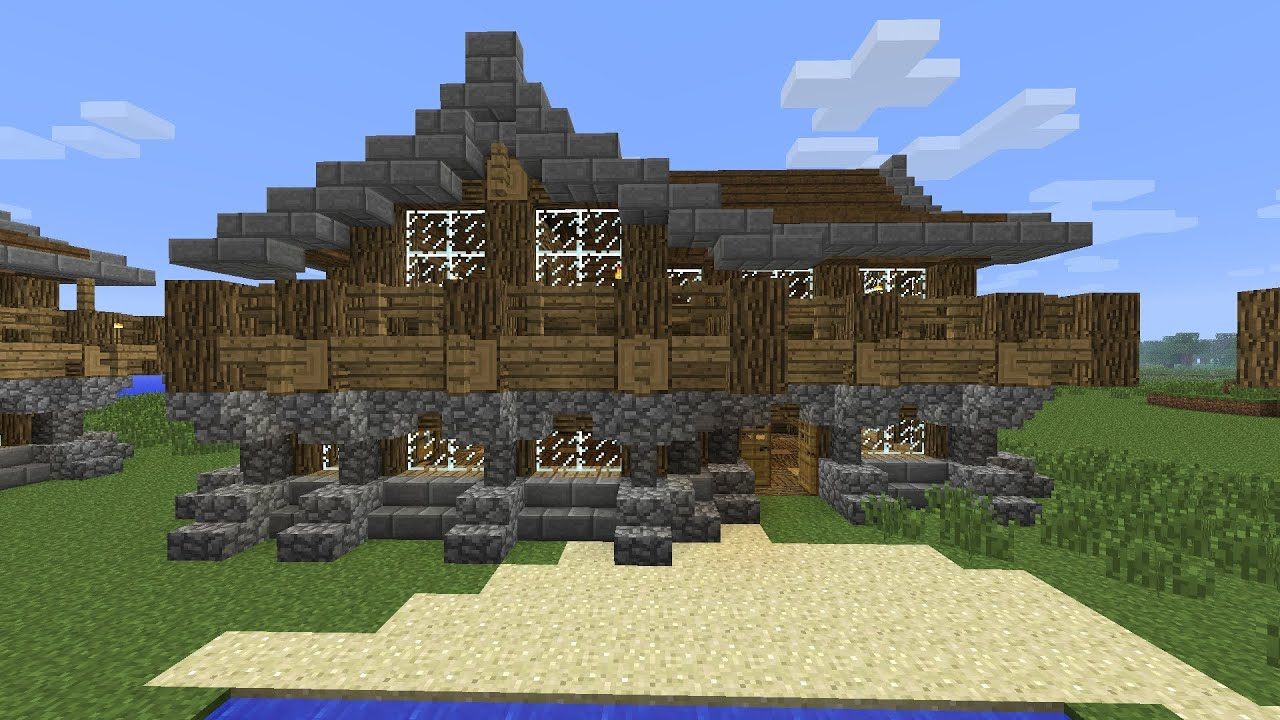 Minecraft how to build a large medieval rustic log cabin for How to build a cottage home