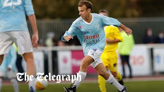 Macron scores a penalty in charity football match