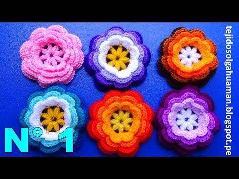 flor tejida a crochet o ganchillo N° 1para adornar gorros 53bd7fa7c0d