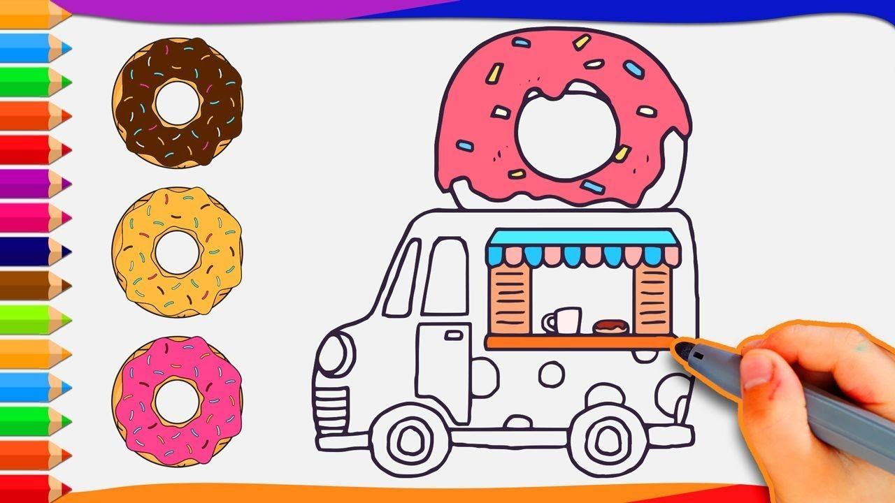 Donut Food Truck How To Draw A Coloring For Kids