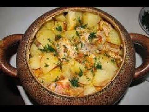Курица запеченная с картофелем в горшочке - Жаркое