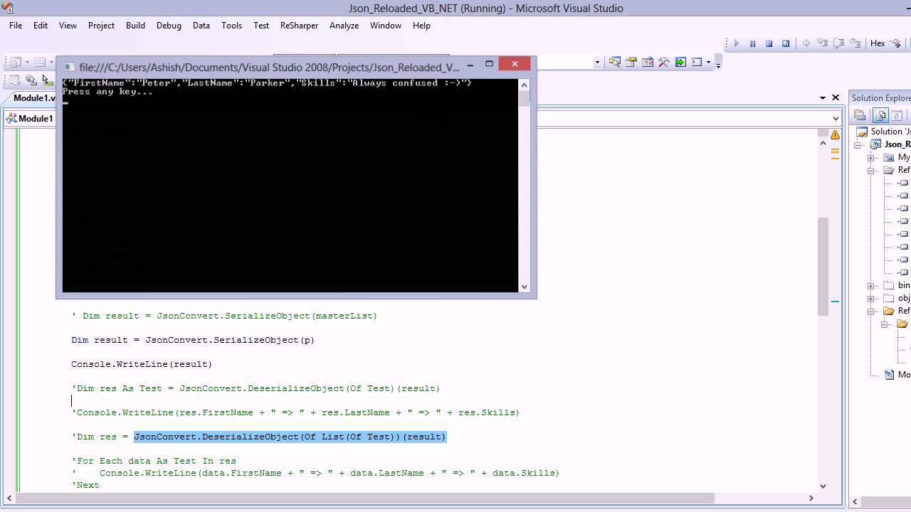 VB NET json serialization and deserialization