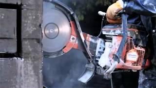 Чем легко глубоко резать бетон без пыли? Работа бетонореза Husqvarna K3000