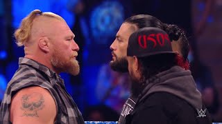 Brock Lesnar confronts and attacks Roman Reigns and Paul Heyman WWE Smackdown 9 10 21
