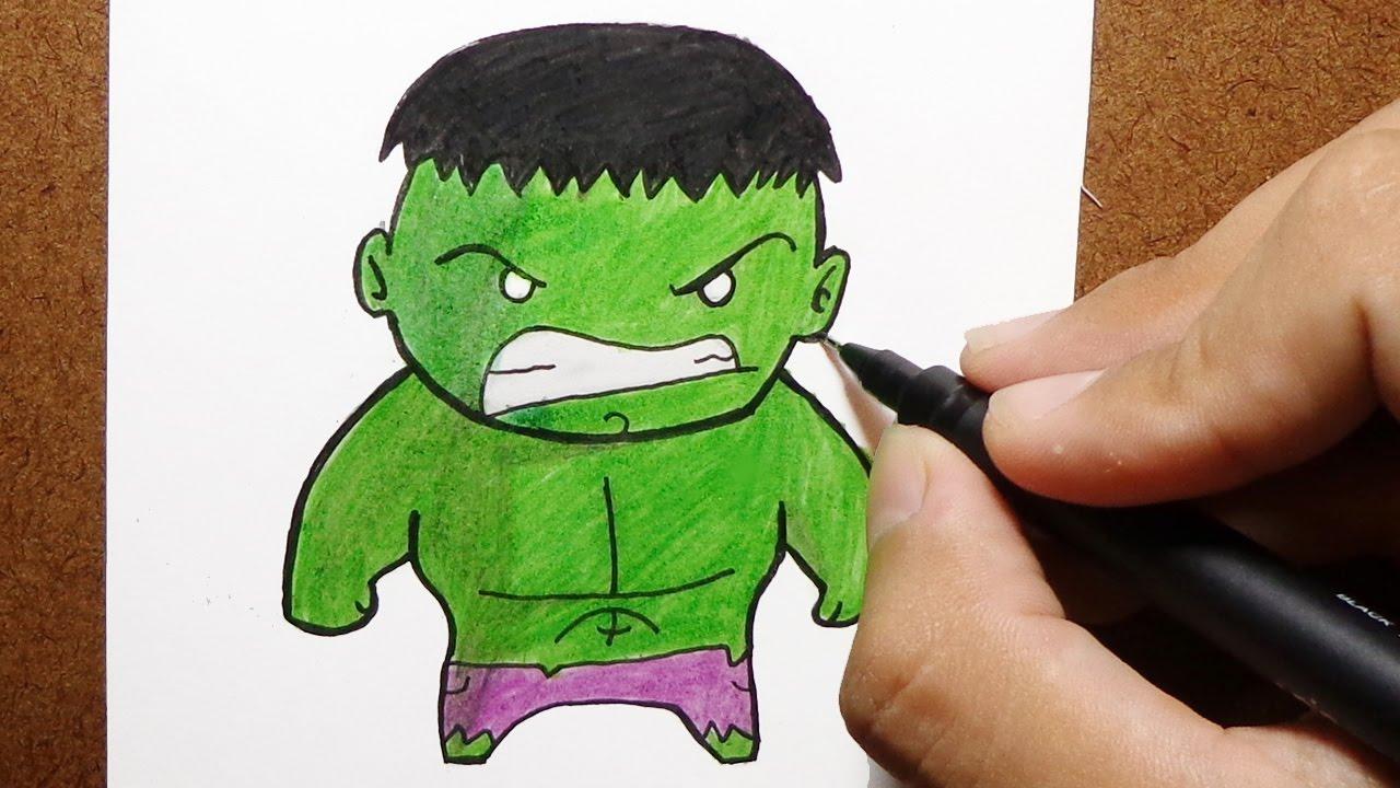 como desenhar e pintar o hulk marvel chibi how to draw youtube
