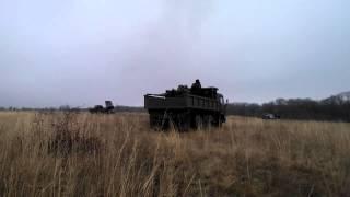 Ополченцы наносят удар из РСЗО  «Град» по укропским позициям:
